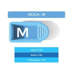 Pileta Sicilia M 5.75×2.90×1.30 mts