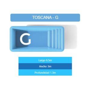 Pileta Toscana G 6.50×3.00×1.30 mts